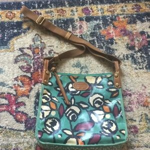 Fossil Messenger bag with roses